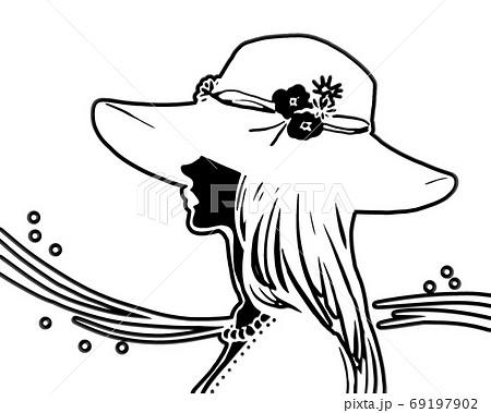 帽子をかぶった女性の切り絵 69197902