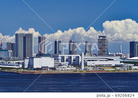 東京ベイエリア 夏の豊洲市場と豊洲埠頭の風景 69206824