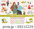 Happy Family Couple Rest Animated Character Set 69215229