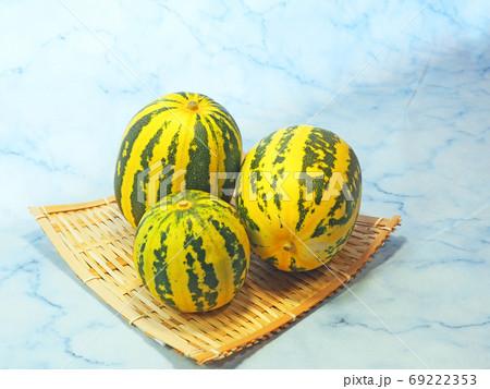 夏の味覚縞模様のタイガーメロン三個収穫 69222353