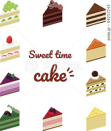 三角のケーキイラストセット 69257243
