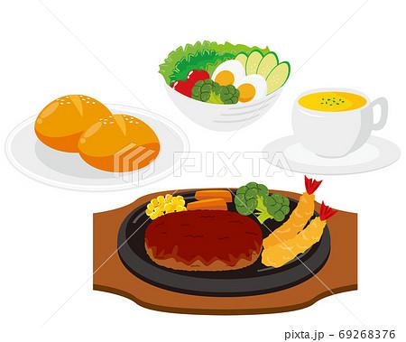 ハンバーグステーキのベクターイラスト 69268376