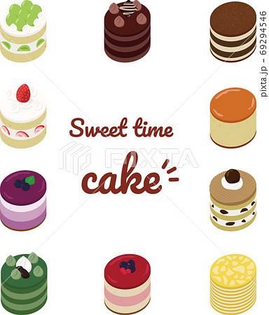 丸のケーキイラストセット 69294546