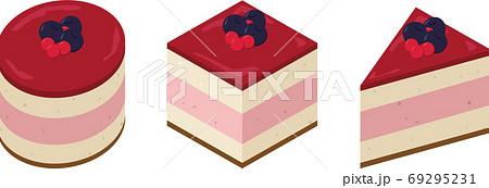 丸と四角と三角のラズベリーケーキ 69295231