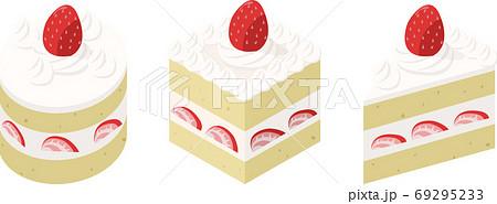 丸と四角と三角の苺のショートケーキ 69295233
