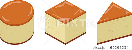 丸と四角と三角のベイクドチーズケーキ 69295234