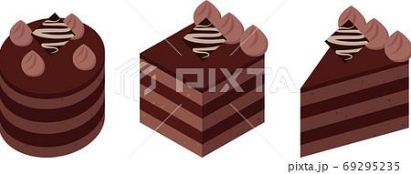 丸と四角と三角のチョコレートケーキ 69295235