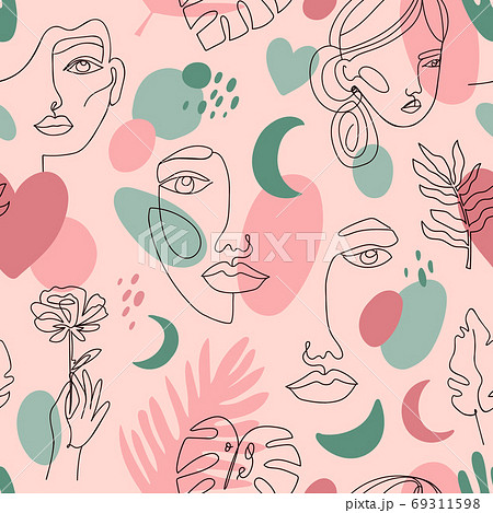 Abstract female portraits pattern. Seamless hand drawn outline female face, fashion continuous line girls portrait vector background illustration 69311598