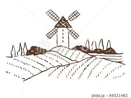 レトロでおしゃれなイラスト素材:風車のあるヨーロッパの田園風景/ぶどう畑/線画 69321462