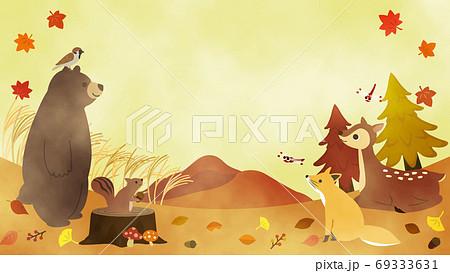 水彩 秋の動物たちのメッセージカード 69333631