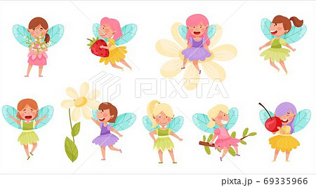 Little Fairies or Pixies with Wings Hovering and Flying Vector Illustration Set 69335966