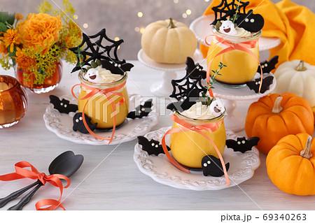 ハロウィン かぼちゃプリン 69340263