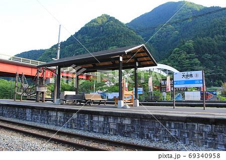 大歩危駅のホームにある祖谷のかずら橋の模型 69340958