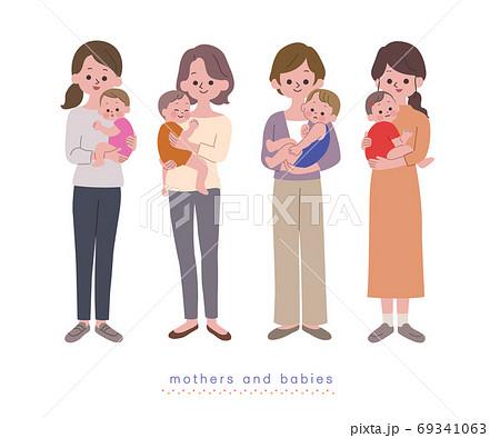 赤ちゃんを抱っこするお母さん達 主線無し 69341063