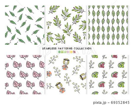 植物のシームレスパターンセット 69352845