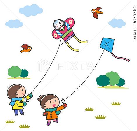 凧あげをする子どもたち・風景 / 線あり 69357676