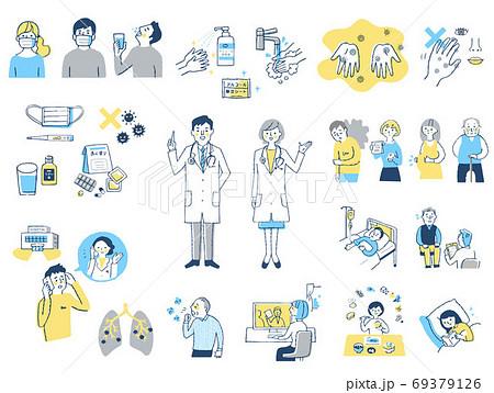 感染症イメージ 人物セット 69379126