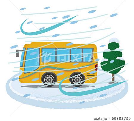 吹雪の被害に遭う黄色い観光バスのベクターイラスト 69383739