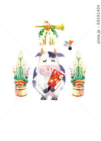 水彩で描いた羽根つきをする牛の年賀状 2021 69391404