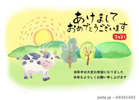 水彩で描いたかわいい牛の年賀状 2021 69391405
