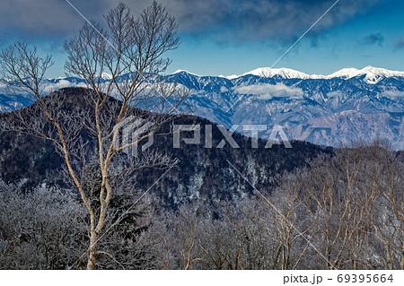 毛無山稜線の霧氷と南アルプスの山並み 69395664