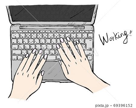 仕事やPC操作の手書きイラストイメージ 69396152
