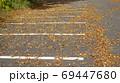 落ち葉が強風であおられて清掃が追いつかない駐車場 69447680