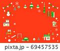 お洒落なヨーロッパ風クリスマスの街並みフレーム 69457535