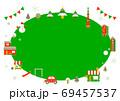 お洒落なヨーロッパ風クリスマスの街並みフレーム 69457537