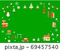 お洒落なヨーロッパ風クリスマスの街並みフレーム 69457540
