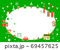 お洒落なヨーロッパ風クリスマスの街並みフレーム 69457625