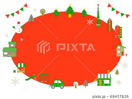お洒落なヨーロッパ風クリスマスの街並みフレーム 69457626