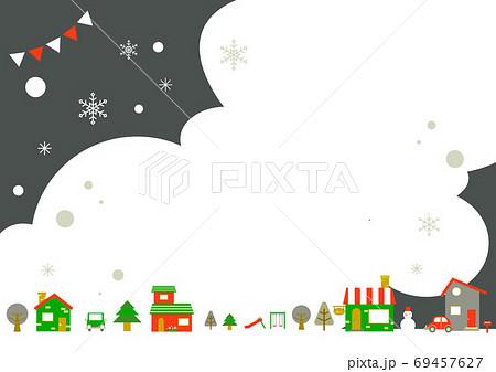 お洒落なヨーロッパ風クリスマスの街並みフレーム 69457627
