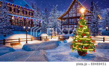 Christmas tree on township square at winter night 69469451
