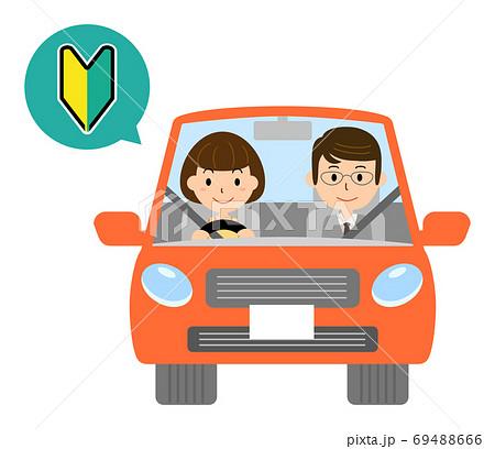 初心者マークで赤い自動車を運転する女性のベクターイラスト 69488666