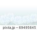 下半分菊の喪中はがきヨコベクター配置調整可 69495645