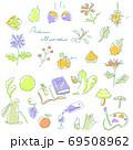 かわいい手描きの秋素材セット 線画パステルカラー 69508962