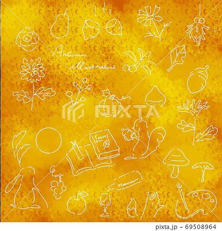 かわいい手描きの秋素材セット 線画 白 69508964