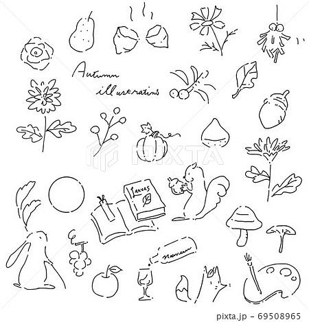 かわいい手描きの秋素材セット 線画 黒 69508965