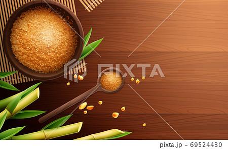 Cane Sugar Colored Realistic Composition  69524430