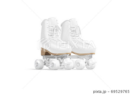Blank white roller skates with wheels mockup pair, half-turned view 69529765