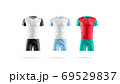 Blank liverpool and manchester team soccer uniform mockup, isolated 69529837