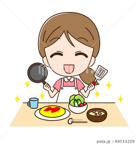 料理道具を持った主婦と料理 69533209