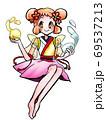 水の魔法が使える和テイストの妖精の女の子 69537213