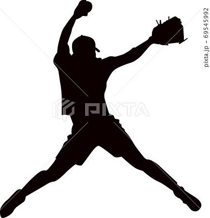 ソフトボールのピッチャー シルエット 69545992