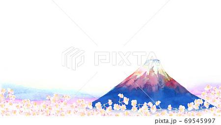 水彩で手描きした富士山と桜の背景イラスト 69545997