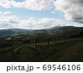 青空の雲に陰る葡萄畑を一望 69546106