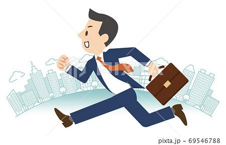 オフィス街を走るビジネスマン 69546788