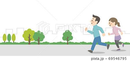 屋外でジョギングをするカップル 69546795