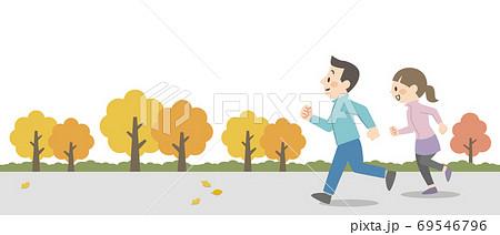 屋外でジョギングをするカップル 69546796